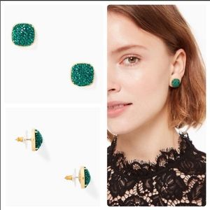 Kate Spade Pave Small Square Stud Emerald Earrings